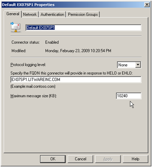 Exchange 2007 Empfangsconnector Eigenschaften
