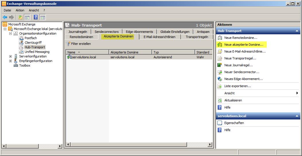 Einrichten von Exchange Server 2010